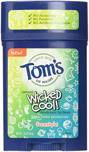 Tom's of Maine Wicked Cool Deodorant for Boys Freestyle 2.25 Oz (Pack of 3) (Best Natural Deodorant For Kids)