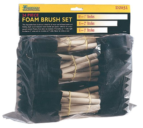 Price comparison product image Woodstock D2031 Foam Brush with Wooden Handles, 24-Piece