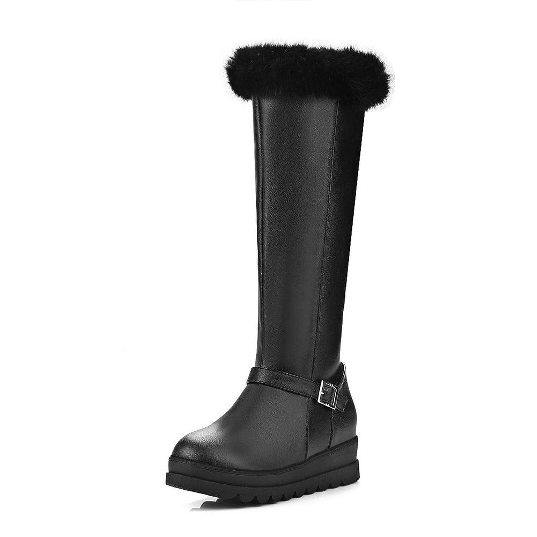 MayMeenth Women's Zipper Kitten-Heels PU Solid High-top Boots
