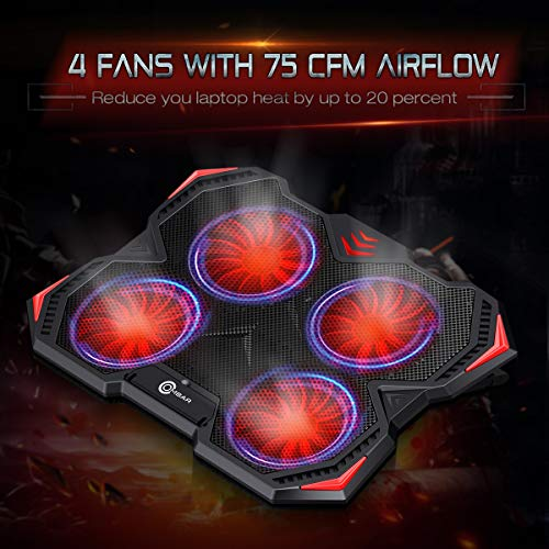 Ombar 10''-17'' Laptop Cooling Pad, Gaming Laptop Cooling Pad Cooler Chill Mat with Four 140mm Red LED Fans at 1000RPM (Black) by Ombar (Image #1)'