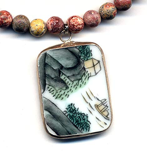 Qing Pottery Shard Pendant, Landscape Motive Pendant on Brecciated Jasper Necklace, Porcelain Jewelry, Handmade Jewelry by AnnaArt72 ()