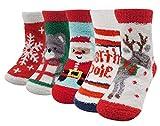Bienvenu Kids 5 Pack Deer Santa Snowflake Colorful Christmas Socks Floor Socks, Kids Socks Set