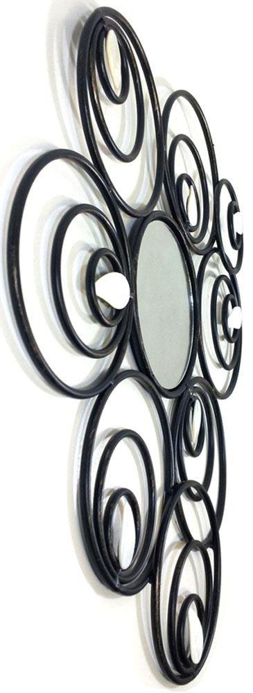 Nouveau M/étal art de mur D/écor de Sculpture miroir abstrait cercle
