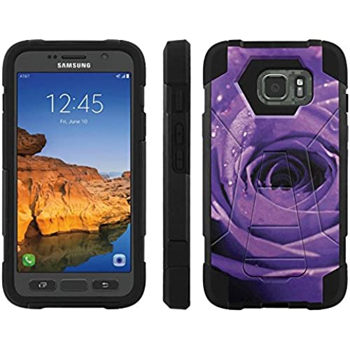 AT&T [Galaxy S7 Active] ShockProof Case [ArmorXtreme] [Black/Black] Hybrid Defender [Kickstand] - [Purple Rose] for Samsung Galaxy [S7 Active] Sales