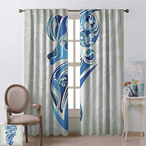 youpinnong Zodiac Aries, Party Curtains Decorations, Artistic Animal Figure with Floral Swirls in Blue Shades, Curtains Kids, W72 x L96 Inch, Pale Sage Green Blue Indigo