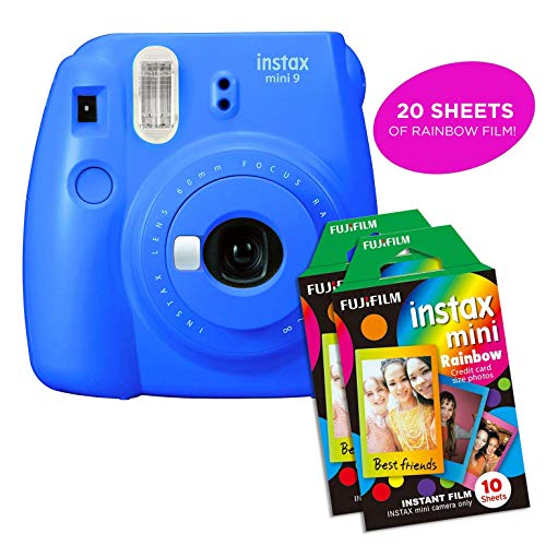 Fujifilm Instax Mini 9 Instant Camera | Includes 2 Rainbow Film Packs (20 Photo Sheets Total) | Auto Lens & Light Exposure Setting | Certified Refurbished (Cobalt Blue)