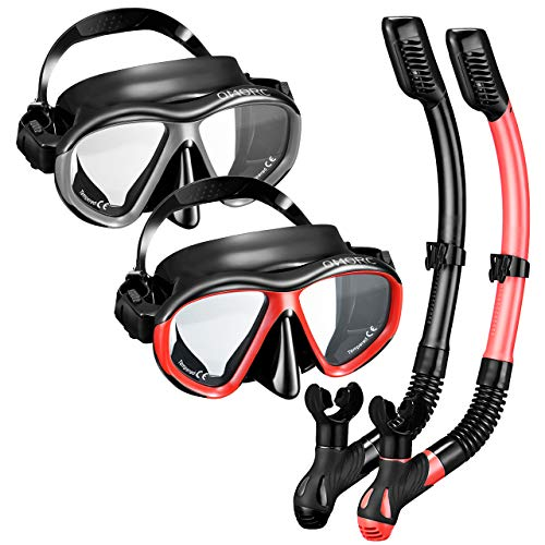 - OMORC Snorkel Set, Anti-Fog Snorkel Mask with Impact Resistant Panoramic Tempered Glass, Free Breathing Anti-Leak Dry Top Snorkel, Professional Snorkeling Set for Adult Youth (Black+Red)
