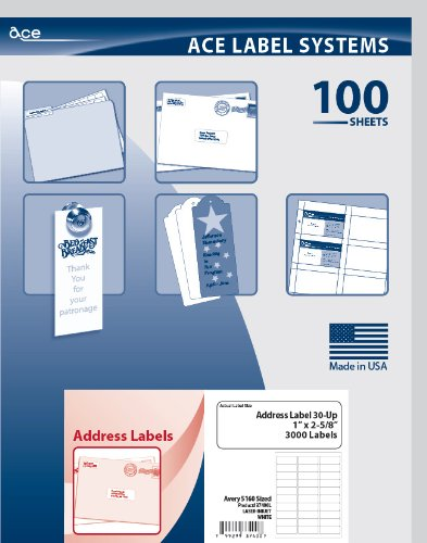 Ace Label Mailing & Address Labels for Laser and Inkjet Printer, Avery 5160 Sized, 2.625 x 1 Inches, Pressure-Sensitive Labels, White, 100 Sheets, 30 per Sheet, 37400L