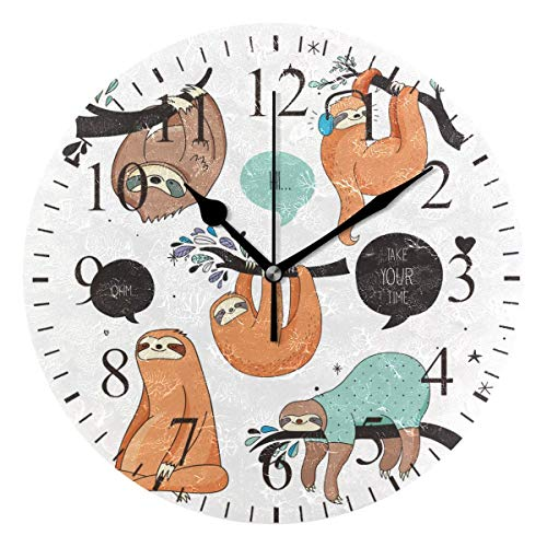 Dozili Cute Sloth Take Your Time Round Wall Clock Arabic Numerals Design Non Ticking Wall Clock Large for Bedrooms,Living Room,Bathroom