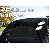 Complete Car Window Wrap Tint Glass Vinyl Film 30 Inch x 60 Inch 2-roll combo pack (20% Dark Tint)