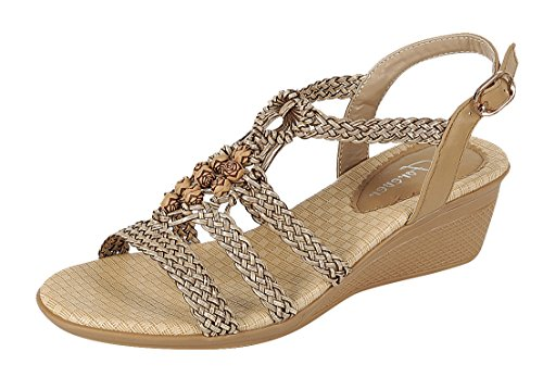 Evigt Link Womens Vävda Pärlstav Blommor Boho Wedge Sandal Taupe
