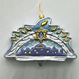 Polonaise Menorah Hanukkah Glass Holiday Ornament #AP3112