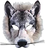 Wolf Face Mask Realistic Fur