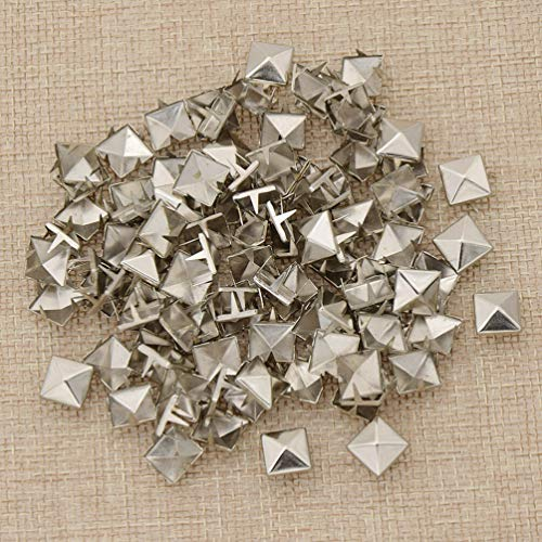 MOPOLIS 1 Set Pyramid Rivets Punk Square Leather Craft Accessories Alloy Spike DIY Kit | Color - Silver