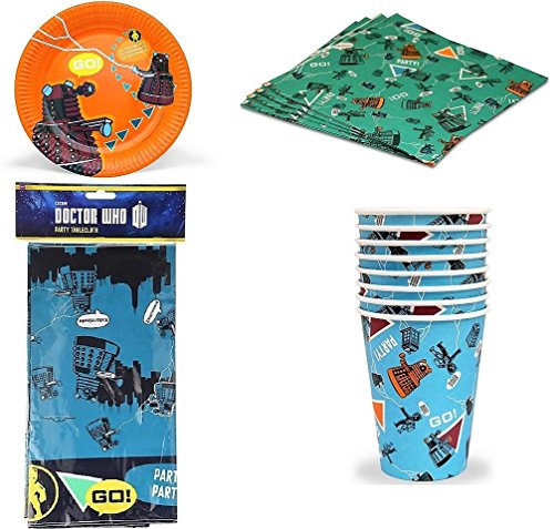 BBC Doctor Who - Children's Partyware Pack - Party for 6 - Plates Napkins Cups (Doctor Who Birthday Party Supplies)