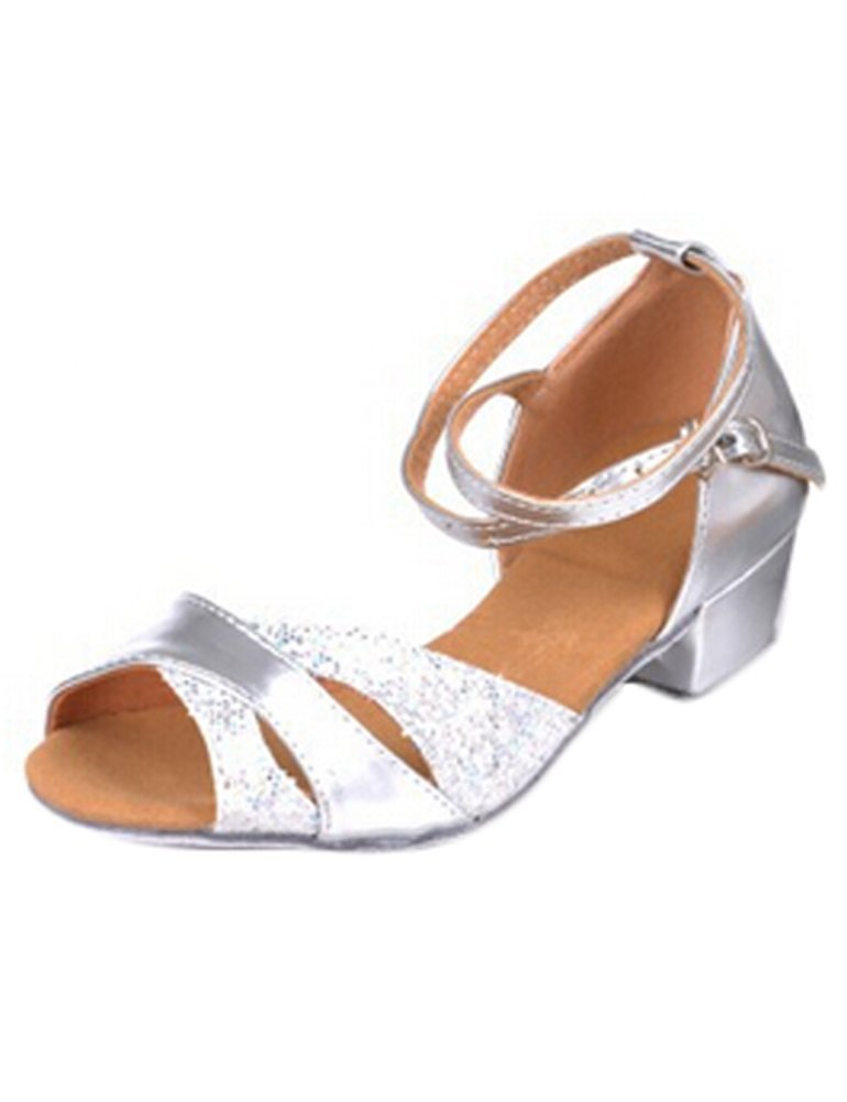 Eden Babe Girl's Glitter Ballroom Tango Dance Shoes(Little Kid 10.5M,Silver 24)