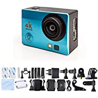 Sport Action Camera 4K Ultra HD 30fps Wifi Waterproof Cam DV Camcorder SONY Sensor 12MP 170 Degree Wide Angle 2 inch LCD Screen (Blue)