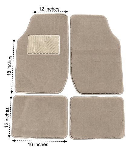 Eurow Tan Premium Plush Pile Carpet Floor Mat - 4 Piece