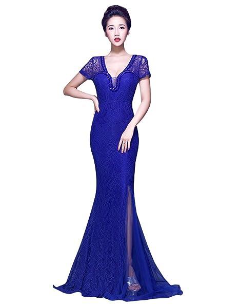 Beauty-Emily V-cuello con aberturas Encaje ver a través de vestido de fiesta: Amazon.es: Ropa y accesorios