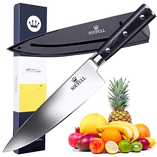 (Professional Chef Knife- Soufull 8 inch High Carbon Stainless Steel Kitchen Knife-Razor Sharp Durable Blade&Ergonomic Pakka Wood Handle-Guard Included)