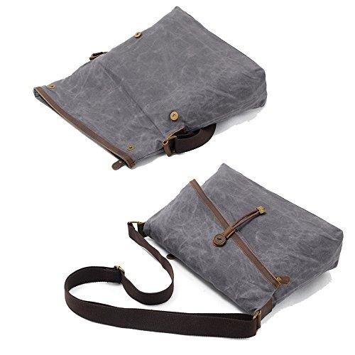 Crossbody Waxed Unisex Vintage Over Bag Genuine Canvas Black Bags Leather Trim Fold rfqR5r