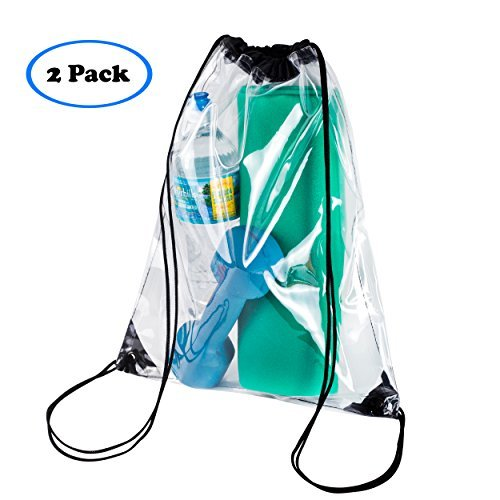 Clear Drawstring Backpack Stadiam Aproved Bag For School, Security Travel, Sports, Waterproof – Clear Vinyl body with Black Draw String Bag (2 Pack) -