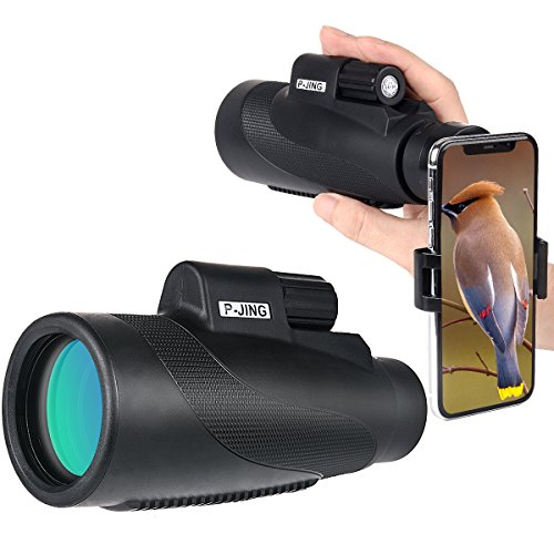 HD Monocular Telescopes, P-JING 16X50 High Definition Power Monocular Telescope - Waterproof Compact Telephoto Zoom Lens Low Night Vision BAK4 Prism with Phone Adapter