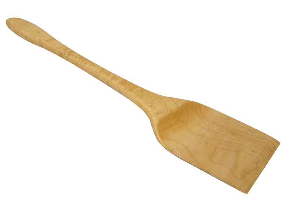 American Made Natural Hard Maple Wood Large Turner Spatula, 15-inch