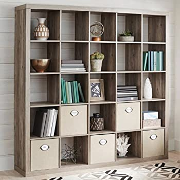 25 Cube Organizer Storage Bookcase Bookshelf Or Room Divider, Rustic Gray  With Four Open Slot Storage Bins