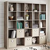 Better Homes and Gardens- 25-Cube Organizer Room Divider, (Rustic Gray with H Shelf and Bin)