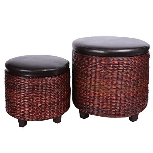 Eshow Handmade Home Ottomans Large Basket Storage Container Bamboo Bench Foot Seating 2 pack Brown (Bamboo Wood Candle Favors)