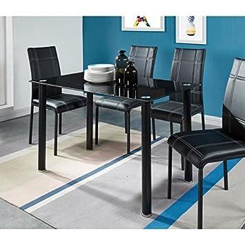 Exceptionnel Générique Clint Ensemble Table A Manger En Verre 4 Personnes 120x70 Cm + 4  Chaises De