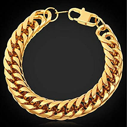 Amazon.com: FidgetFidget Stainless Steel Bracelet Men Gold ...