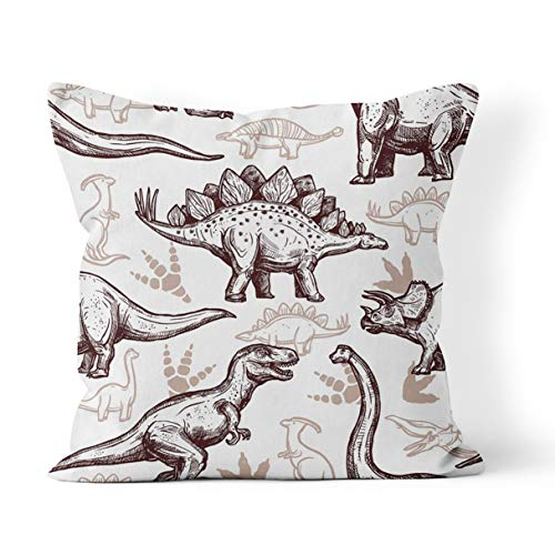 Wesbin Throw Pillow Cover Dino Prehistoric Dinosaurs Reptiles with Footprints on Two Color Doodle Style Kids New Living Hidden Zipper Home Sofa Decorative Cushion 16x16 Inch Square Design Print