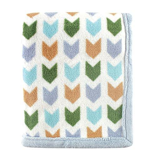 Baby Coral Fleece - Hudson Baby Print Coral Fleece Blanket, Blue Chevron