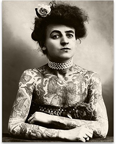Lone Star Art Maud Wagner Tattooed Lady Portrait - 11x14 Unframed Print - Perfect Unique Gift and Decor for Tattooists, Tattoo Parlors and Home Under $15