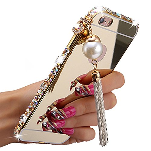 Gravydeals Iphone 6 Plus/6S Plus Case,Gold Ultra-Thin Bling Jewel Rock Crystal Mirror Cover + Aluminum Metal Bumper Frame With Pearl Tassel For Apple Iphone 6 Plus/6S Plus 5.5 inch