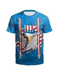 Naladoo Men 3D Printed Pattern Short Sleeve T-Shirt Casual Cool Graphic Tees Top