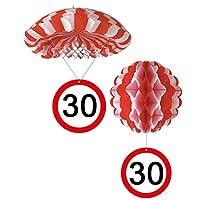 Sortiert 1 Deko Ballon oder 1 Deko Fallschirm mit Schild 30. Geburtstag
