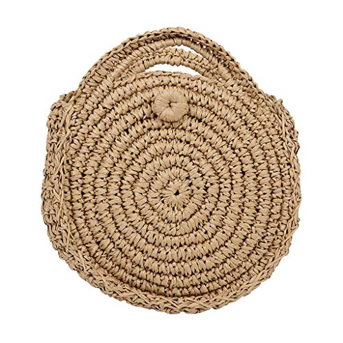 Kangma Women Handwoven Round Rattan Straw Bag Totes Crossbody Bag Beach Purse With Handbag