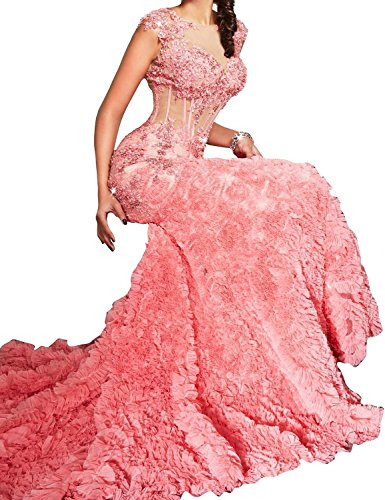 Meerjungfrau Ballkleid Fanciest Sexy Lang Coral Formelle Abendkleider Sheer Appliques Kleid Evening Women's wxAqtrIAX
