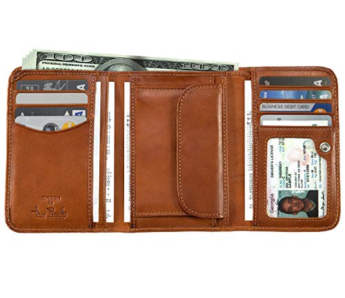 Italian Cow Leather Trifold Clutch Wallet with ID and Coin Pouch ()