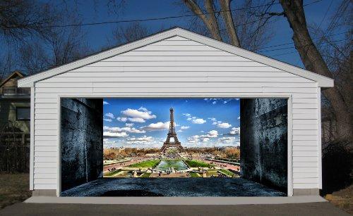 3D Effect Garage Door Billboard Sticker Cover Decor France Paris Eiffel Tower 7x8 Feet by VSGraphics LLC