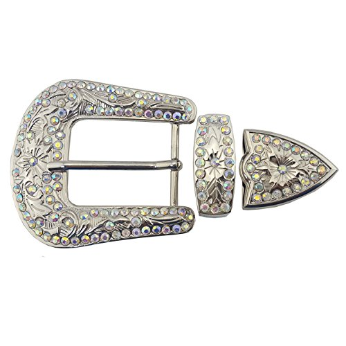 Western Crystal Buckle Set Silver with AB Stone ()