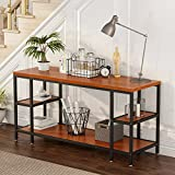 LITTLE TREE Console Table, Large 3-tier Media Console Table for Entryway Hallways, TV Stand Entertainment Center with Shelves for Living Room, Heavy Duty Frame & Wood, Teak