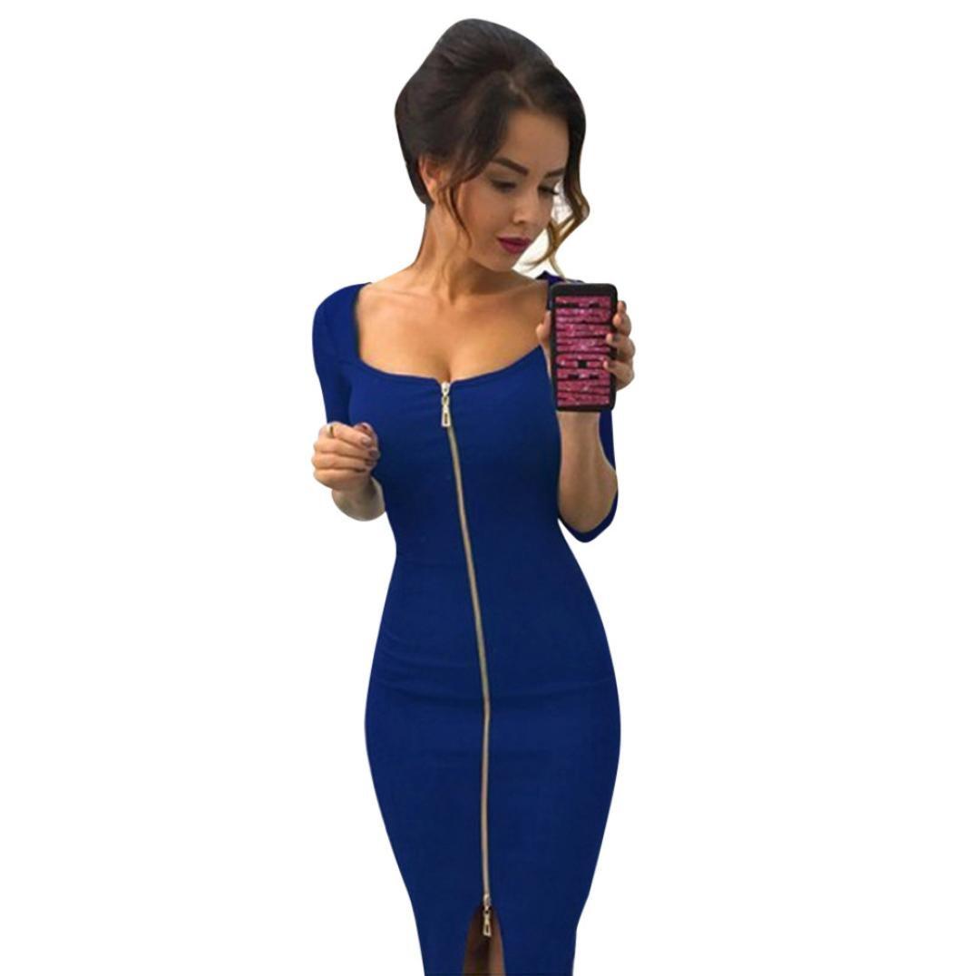Women Hot Zipper Slim Half Sleeve Office Evening Party Dresses (M, Blue) by Napoo-Women Dress