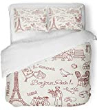 Emvency 3 Piece Duvet Cover Set Breathable Brushed Microfiber Fabric Red France Paris Doodles French Cuisine Words Sketch Restaurant Couple Vintage Bedding Set with 2 Pillow Covers Twin Size