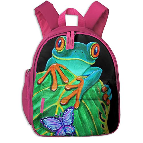 Cycling Hiking Backpack Red-eyed Tree Frog And Butterfly Student Backpack,Packable Lightweight Travel Backpack Daypack Camping Outdoor Bag