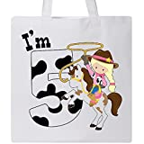 Inktastic - I'm Five-cowgirl riding horse birthday Tote Bag White 2c9d6