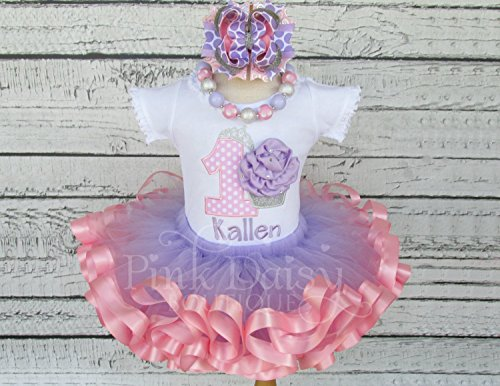 Girls Lavender and Gold Personalized Appliqu\u00e9 Shirt and Ribbon Trim Tutu Birthday Outfit with Matching Headband and Chunky Necklace.